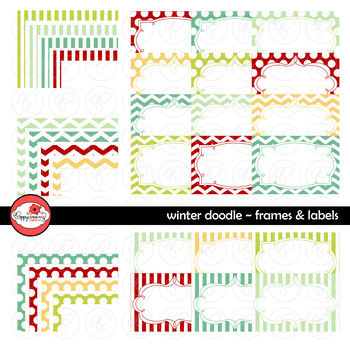 Winter Doodle Frames and Labels Digital Borders Clipart by