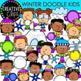 Winter Doodle Kids Clipart {Winter Clipart}
