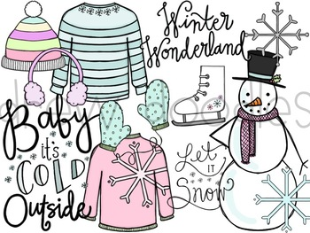 Winter Doodles Digital Clip Art Set