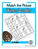 Winter Doodles Object Matching - Print, Answer & Color Wor
