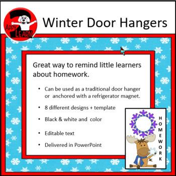 winter door hangers editable text