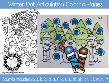 Winter Dot Articulation Coloring Sheets Speech Therapy By Oils And Auras
