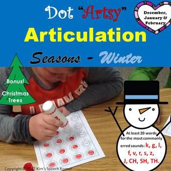 "Dot ""Artsy"" Articulation Worksheets - Seasons - Winter"