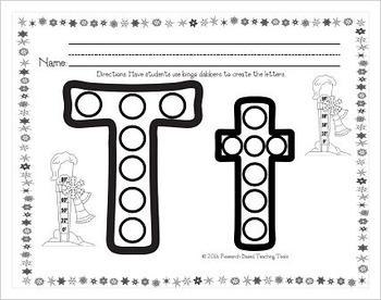 Dollar Deals: Winter Dot the Alphabet Letter Recognition Worksheets