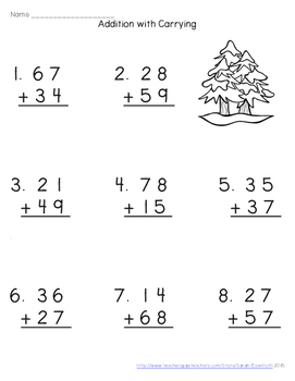 Winter Double-Digit Addition with Carrying Worksheets
