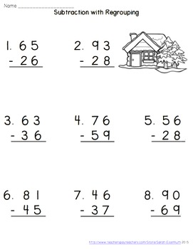 Winter Double-Digit Subtraction with Regrouping Worksheets