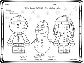 Winter Double Digit 2 Digit Subtraction with and without Regrouping