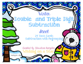 Winter Double and Triple Digit Subtraction with Regrouping