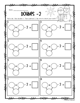 Winter Doubles + 1, -1, +2, -2 Activity