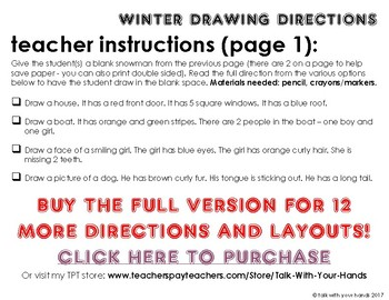 Winter Drawing Directions Preview FREEBIE!