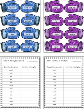 Winter ELA Language 2.2.C Contractions and Possessives Worksheets and Activities