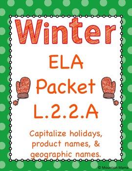 Winter ELA Language 2.2A Proper Noun Capitalization Worksheets and Activities