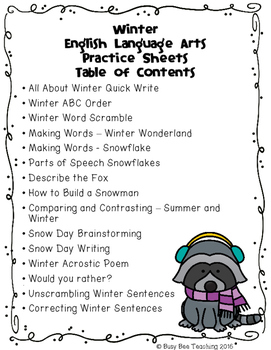 Winter ELA Practice Pages