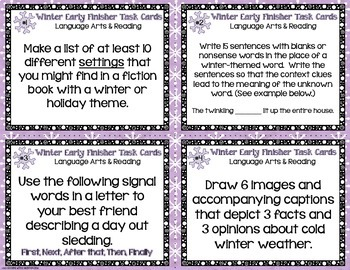 Winter Early Finisher Task Cards