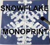 "Winter ""Easy-art"" and Language-ART Snowflake Monoprint"