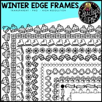 Winter Edge Frames Clip Art Set {Educlips Clipart}