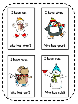 Winter Edition ~ I Have, Who Has Sight Word Game