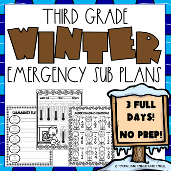 Winter Emergency Sub Plans - Third Grade HALF OFF FIRST 48HRS!!!