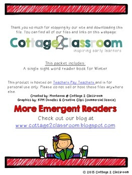 Winter Emergent Reader for PreKinders