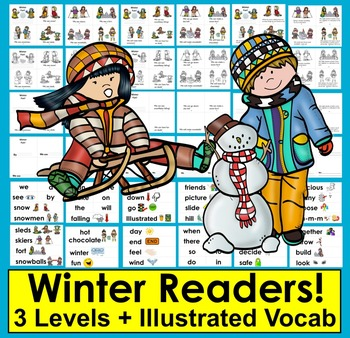 Winter Fun Readers - 3 Levels + Illustrated Word Wall: Winter Activities