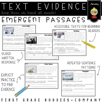 January Text Evidence Reading Passages with Comprehension Questions