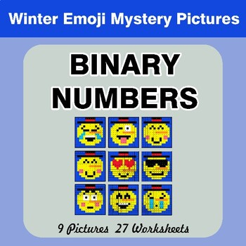 Winter Emoji: Binary Numbers - Mystery Pictures / Color By Number