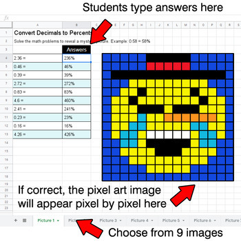 Winter Emoji - Convert Decimals to Percents - Google Sheets Pixel Art