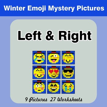 Winter Emoji: Left & Right side - Color by Emoji - Mystery Pictures