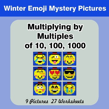 Winter Emoji: Multiplying by Multiples of 10, 100, 1000 - Math Mystery Pictures