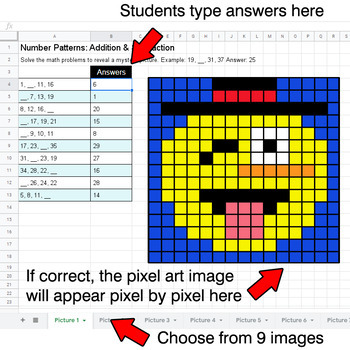 Winter Emoji - Number Patterns: Addition & Subtraction - Google Sheets