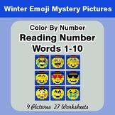 Winter Emoji: Reading Number Words 1-10 - Color By Number