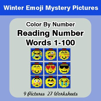 Winter Emoji: Reading Number Words 1-100 - Color By Number - Mystery Pictures