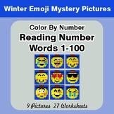 Winter Emoji: Reading Number Words 1-100 - Color By Number