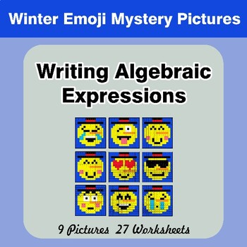 Winter Emoji: Writing Algebraic Expressions - Math Mystery Pictures