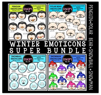 Winter Emoticons Clip Art Super Bundle  {Educlips Clipart}