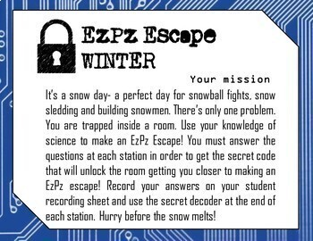 Winter Escape Room- Science Digital Breakout