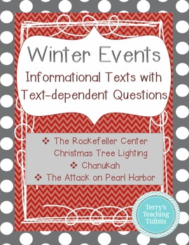 Winter Events:  3 Informational Texts with Questions (Chanukah, Pearl Harbor)