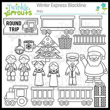 Winter Express Lineart