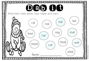 Dab the Rhyming Words - Winter {FREEBIE}