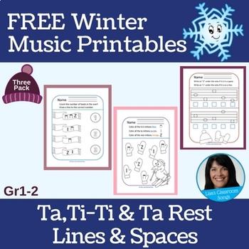 Winter FREEBIE | Primary Music Printables | Ta, Ti-Ti, Rest/Lines & Spaces