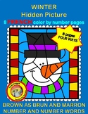 Winter FRENCH hidden picture color by number pages - Les Couleurs