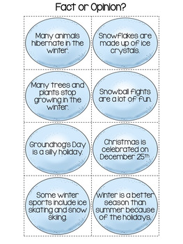 Winter Activities Fact and Opinion