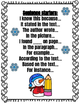 Winter Facts Comprehension and opinion writing
