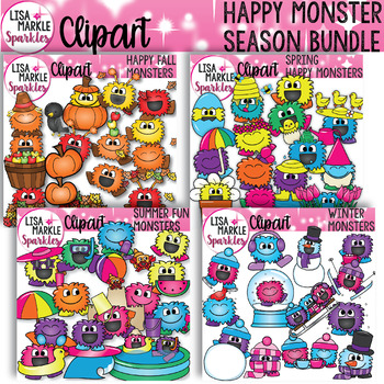 Winter Fall Spring Summer Seasons Happy Monster Clipart BUNDLE