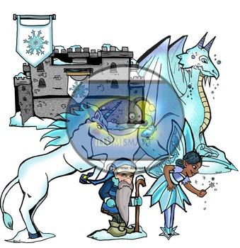 Winter Fantasy  (20 pc. Clip-Art BW & Color!)