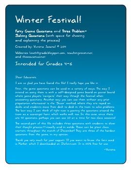 Winter Festival! A 40-Question Math Game for Grades 4-6+