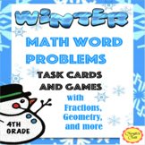 Winter Math Word Problem Task Cards and Games with Fractions / Geometry