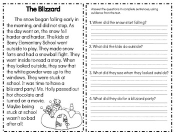 Winter Fiction Reading Comprehension Passages & Questions