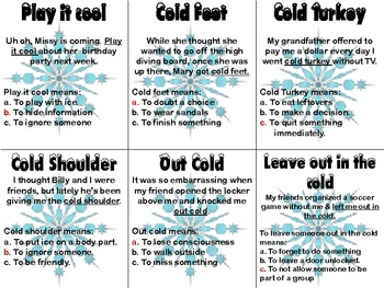Winter Figurative Language Cards/Game