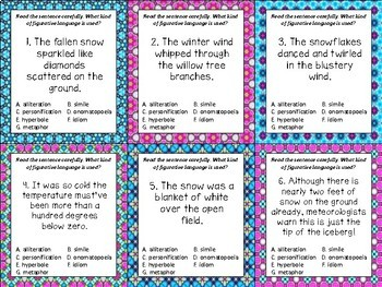 Winter Figurative Language Task Cards and ZAP!